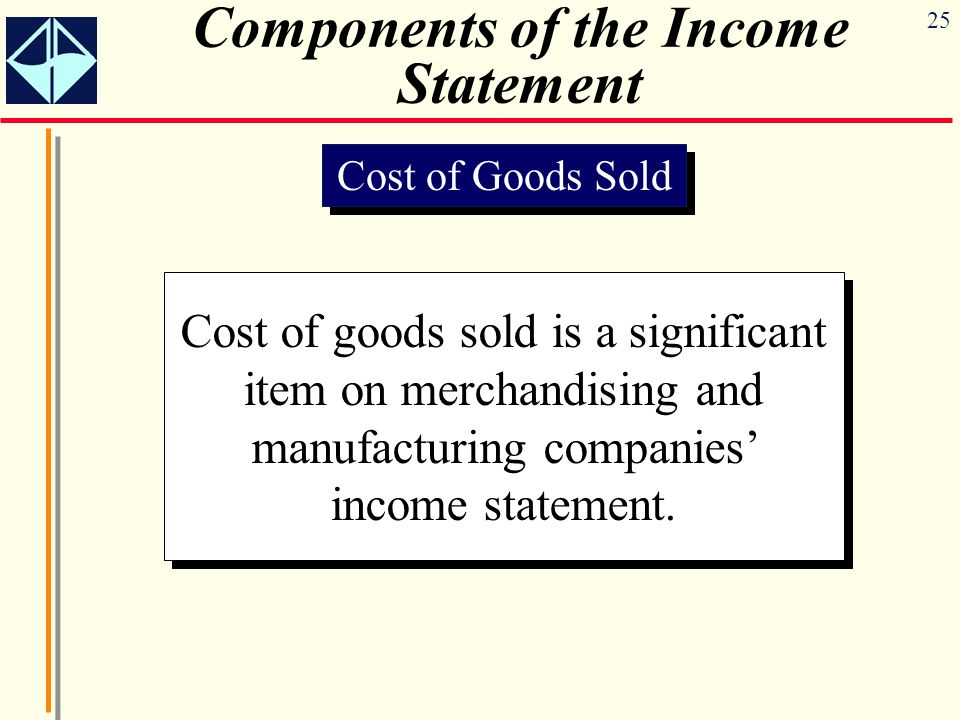 25 Components of the Income Statement Cost of Goods Sold Cost of goods sold is a significant item on merchandising and manufacturing companies' income