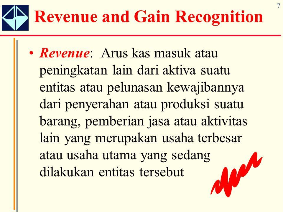 7 Revenue and Gain Recognition Revenue: Arus kas masuk atau peningkatan lain dari aktiva suatu entitas atau pelunasan kewajibannya dari penyerahan ata