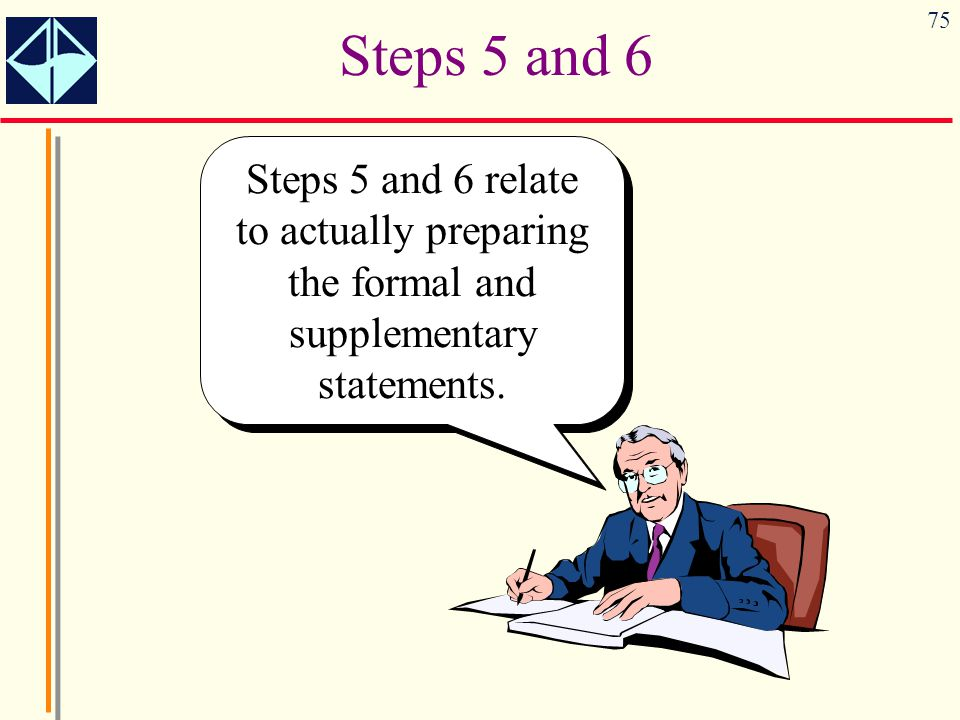 75 Steps 5 and 6 Steps 5 and 6 relate to actually preparing the formal and supplementary statements.