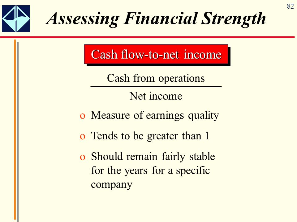 82 Assessing Financial Strength Cash flow-to-net income Cash from operations Net income oMeasure of earnings quality oTends to be greater than 1 oShould remain fairly stable for the years for a specific company