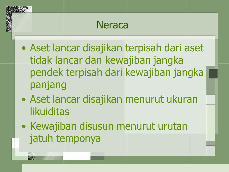 Neraca Aset lancar disajikan terpisah dari aset tidak lancar dan kewajiban jangka pendek terpisah dari kewajiban jangka panjang Aset lancar disajikan