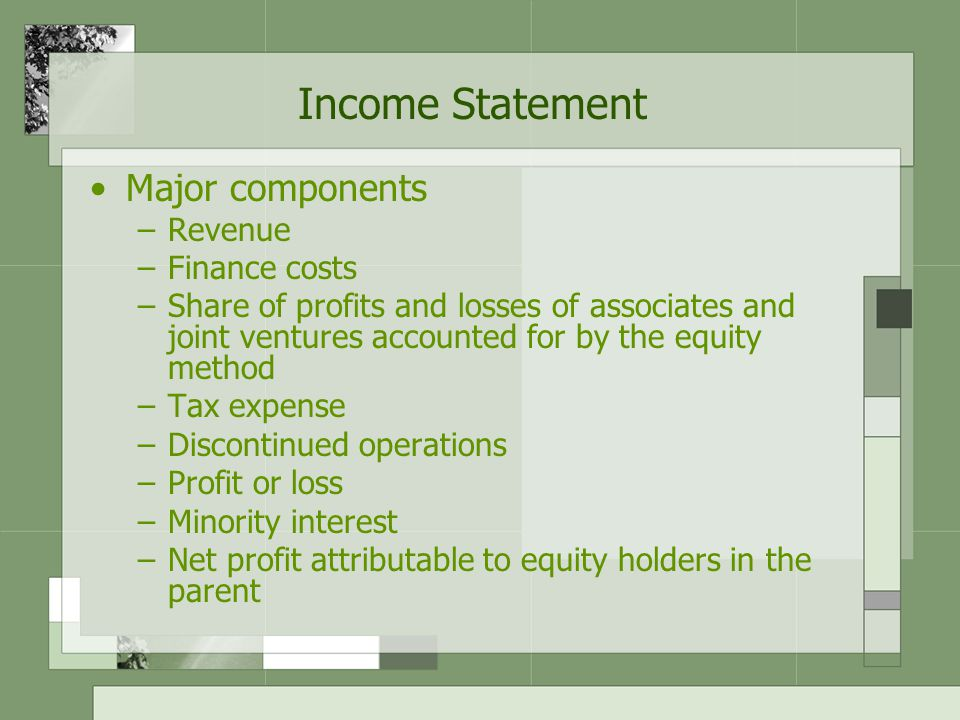 Income Statement Major components –Revenue –Finance costs –Share of profits and losses of associates and joint ventures accounted for by the equity method –Tax expense –Discontinued operations –Profit or loss –Minority interest –Net profit attributable to equity holders in the parent