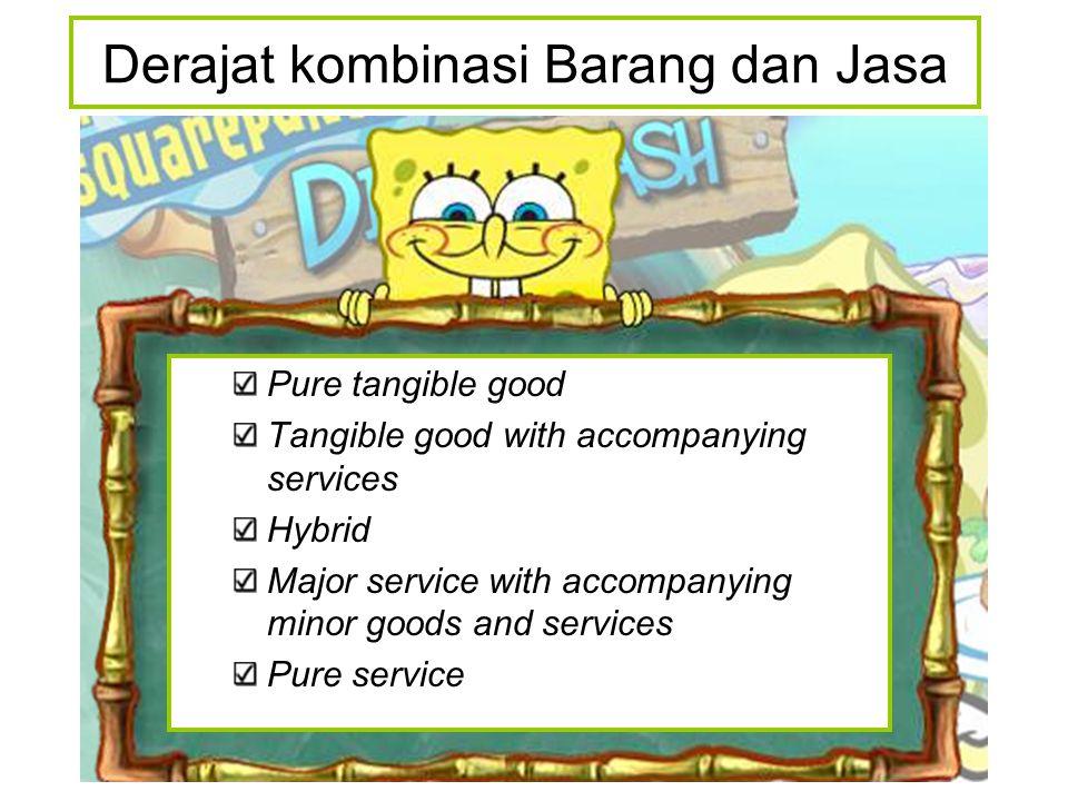 Pure tangible good Tangible good with accompanying services Hybrid Major service with accompanying minor goods and services Pure service Derajat kombinasi Barang dan Jasa