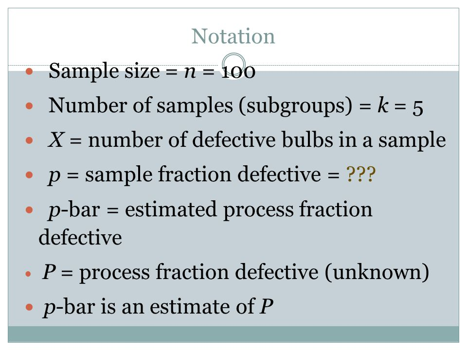 Notation Sample size = n = 100 Number of samples (subgroups) = k = 5 X = number of defective bulbs in a sample p = sample fraction defective = ??? p-b