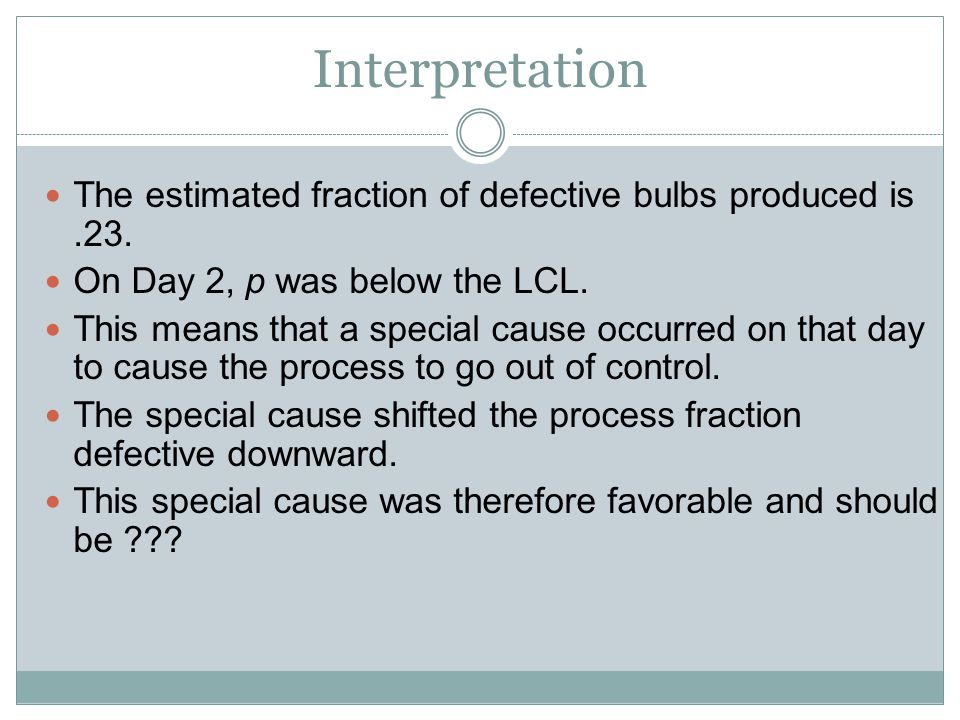 Interpretation The estimated fraction of defective bulbs produced is.23. On Day 2, p was below the LCL. This means that a special cause occurred on th
