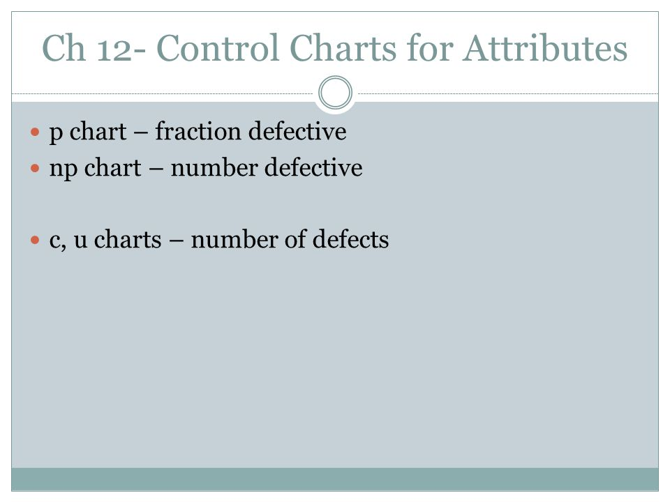 Ch 12- Control Charts for Attributes p chart – fraction defective np chart – number defective c, u charts – number of defects