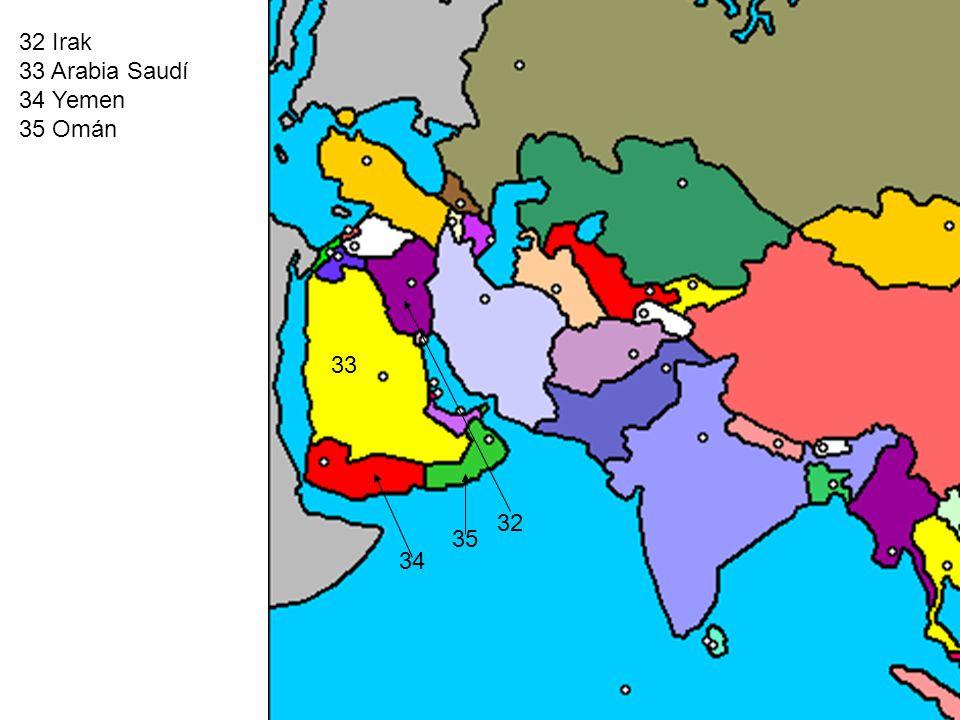 32 Irak 33 Arabia Saudí 34 Yemen 35 Omán 32 33 34 35