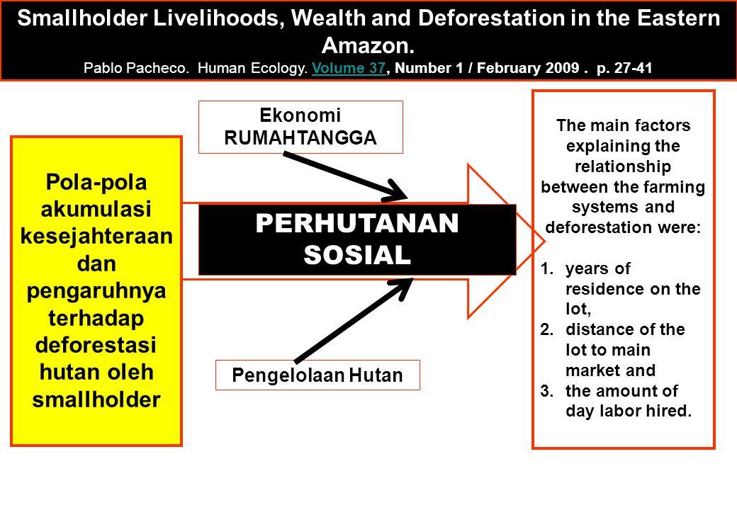Pola-pola akumulasi kesejahteraan dan pengaruhnya terhadap deforestasi hutan oleh smallholder The main factors explaining the relationship between the
