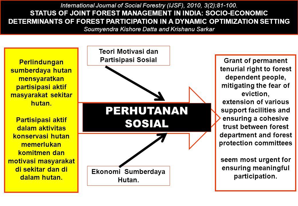 Teori Motivasi dan Partisipasi Sosial Ekonomi Sumberdaya Hutan. PERHUTANAN SOSIAL International Journal of Social Forestry (IJSF), 2010, 3(2):81-100.