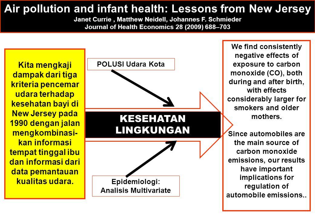 POLUSI Udara Kota Epidemiologi: Analisis Multivariate KESEHATAN LINGKUNGAN Air pollution and infant health: Lessons from New Jersey Janet Currie, Matt