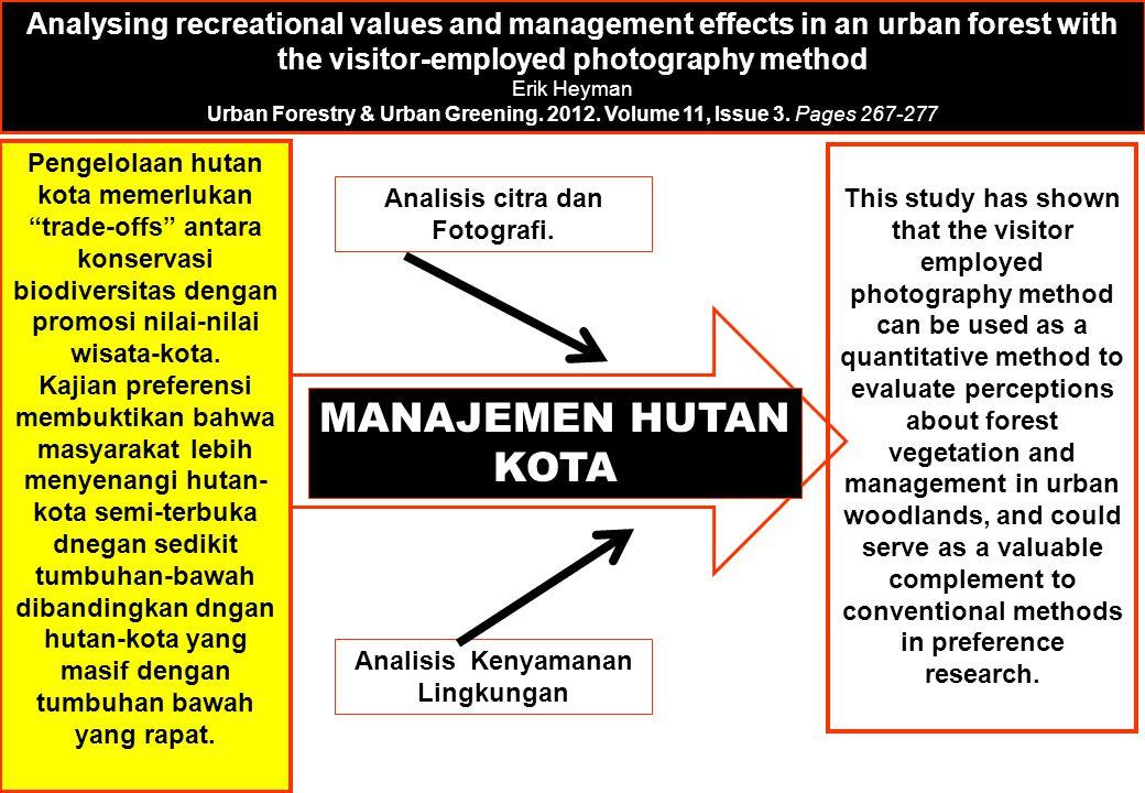 Analisis citra dan Fotografi. Analisis Kenyamanan Lingkungan MANAJEMEN HUTAN KOTA Analysing recreational values and management effects in an urban for