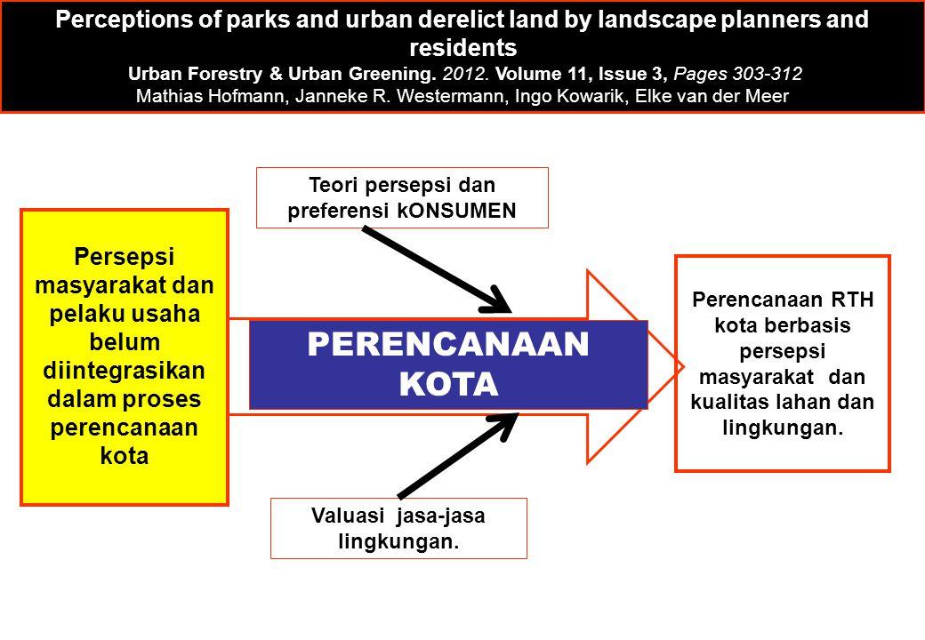 Teori persepsi dan preferensi kONSUMEN Valuasi jasa-jasa lingkungan. PERENCANAAN KOTA Perceptions of parks and urban derelict land by landscape planne