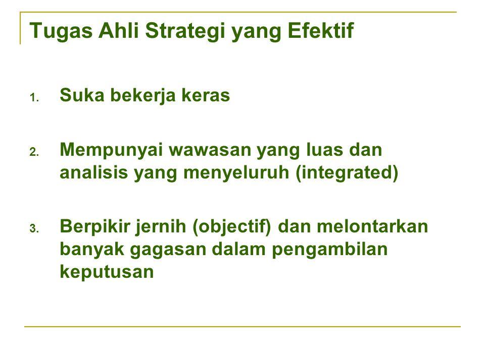 Tugas Ahli Strategi yang Efektif 1. Suka bekerja keras 2. Mempunyai wawasan yang luas dan analisis yang menyeluruh (integrated) 3. Berpikir jernih (ob
