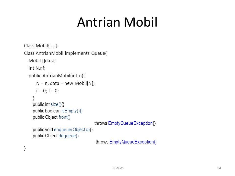 Antrian Mobil Class Mobil{ ….} Class AntrianMobil implements Queue{ Mobil []data; int N,r,f; public AntrianMobil(int n){ N = n; data = new Mobil[N]; r = 0; f = 0; } public int size(){} public boolean isEmpty(){} public Object front() throws EmptyQueueException{} public void enqueue(Object o){} public Object dequeue() throws EmptyQueueException{} } Queues14