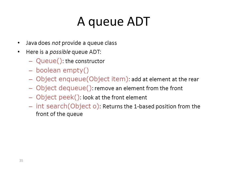 35 A queue ADT Java does not provide a queue class Here is a possible queue ADT: – Queue() : the constructor – boolean empty() – Object enqueue(Object
