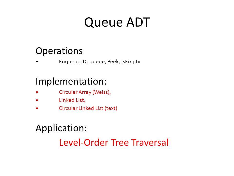 Queue ADT Operations Enqueue, Dequeue, Peek, isEmpty Implementation: Circular Array (Weiss), Linked List, Circular Linked List (text) Application: Level-Order Tree Traversal