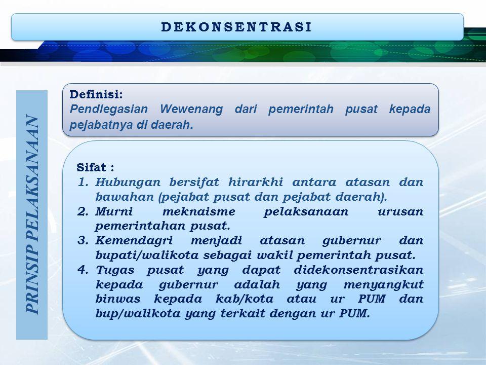 DEKONSENTRASI Definisi: Pendlegasian Wewenang dari pemerintah pusat kepada pejabatnya di daerah. Definisi: Pendlegasian Wewenang dari pemerintah pusat