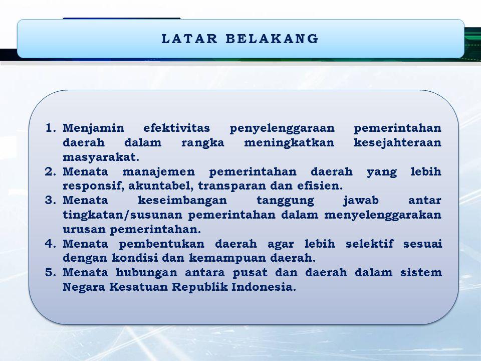 LATAR BELAKANG 1.Menjamin efektivitas penyelenggaraan pemerintahan daerah dalam rangka meningkatkan kesejahteraan masyarakat. 2.Menata manajemen pemer