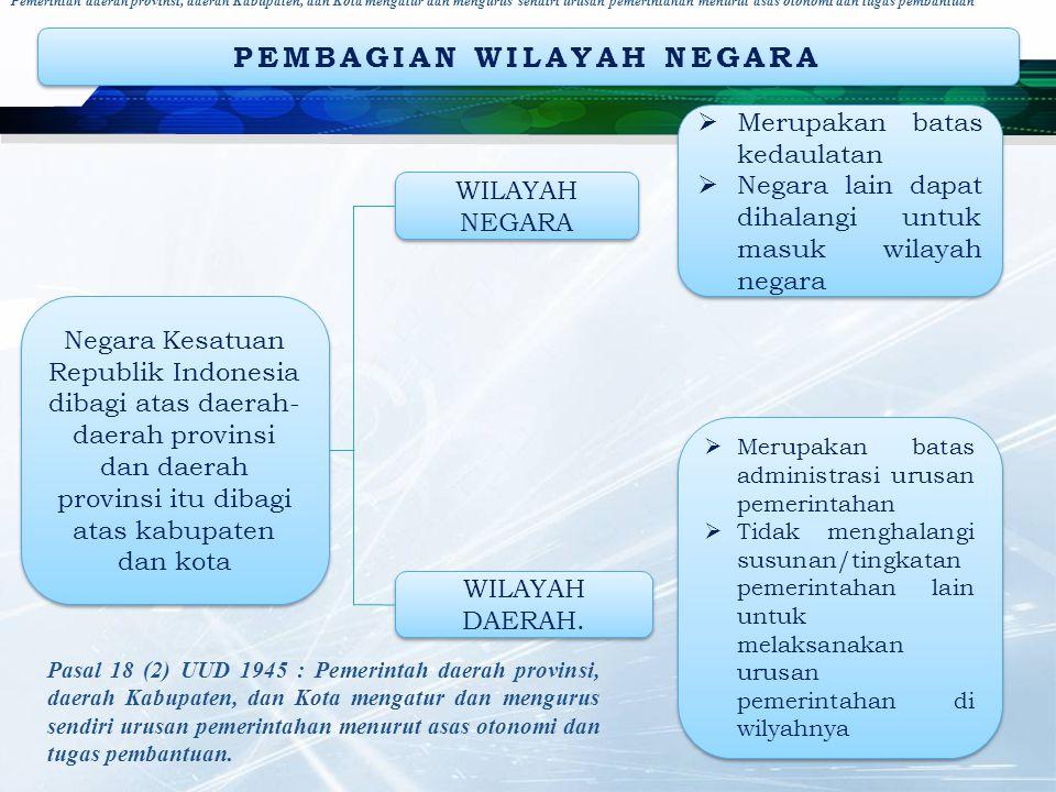 PEMBAGIAN WILAYAH NEGARA Negara Kesatuan Republik Indonesia dibagi atas daerah- daerah provinsi dan daerah provinsi itu dibagi atas kabupaten dan kota WILAYAH DAERAH.
