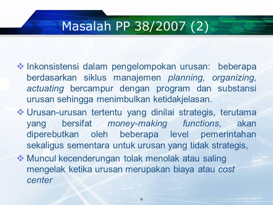 Masalah PP 38/2007 (2)  Inkonsistensi dalam pengelompokan urusan: beberapa berdasarkan siklus manajemen planning, organizing, actuating bercampur dengan program dan substansi urusan sehingga menimbulkan ketidakjelasan.