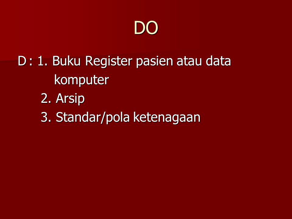 DO D: 1. Buku Register pasien atau data komputer komputer 2. Arsip 2. Arsip 3. Standar/pola ketenagaan 3. Standar/pola ketenagaan