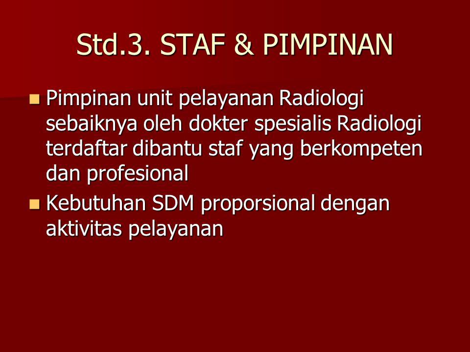Std.3. STAF & PIMPINAN Pimpinan unit pelayanan Radiologi sebaiknya oleh dokter spesialis Radiologi terdaftar dibantu staf yang berkompeten dan profesi