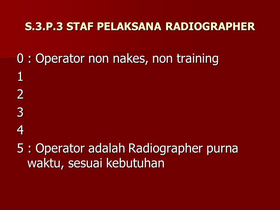 S.3.P.3 STAF PELAKSANA RADIOGRAPHER 0: Operator non nakes, non training 1234 5: Operator adalah Radiographer purna waktu, sesuai kebutuhan