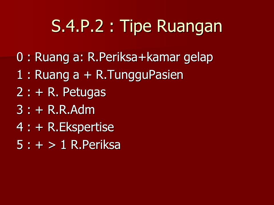 S.4.P.2 : Tipe Ruangan 0: Ruang a: R.Periksa+kamar gelap 1: Ruang a + R.TungguPasien 2: + R. Petugas 3: + R.R.Adm 4: + R.Ekspertise 5: + > 1 R.Periksa