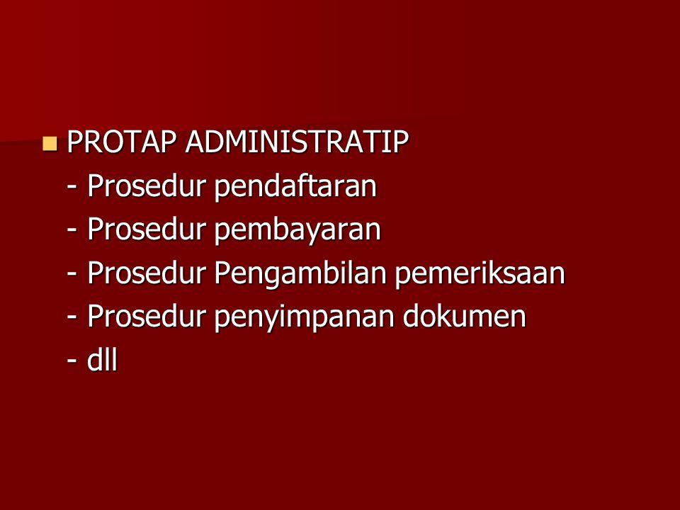 PROTAP ADMINISTRATIP PROTAP ADMINISTRATIP - Prosedur pendaftaran - Prosedur pembayaran - Prosedur Pengambilan pemeriksaan - Prosedur penyimpanan dokum