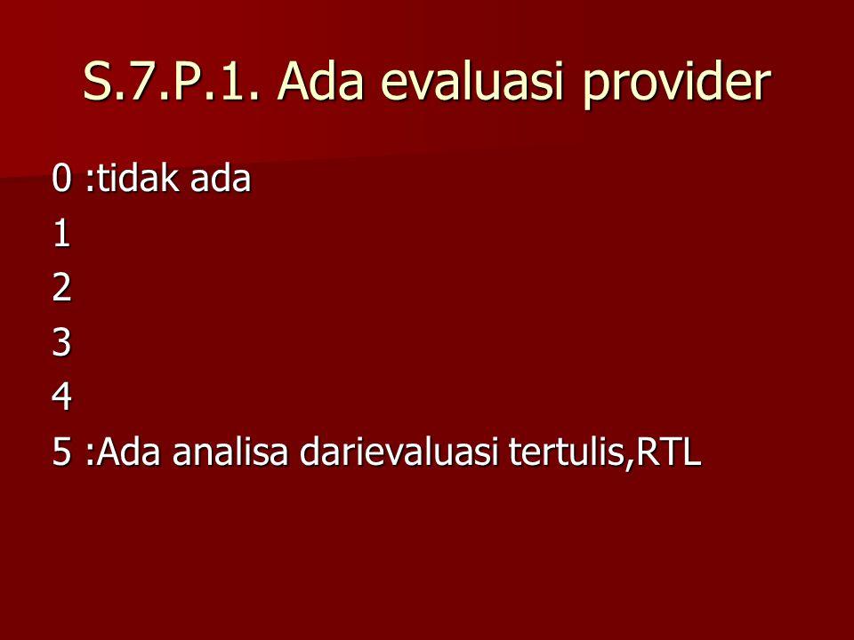 S.7.P.1. Ada evaluasi provider 0:tidak ada 1234 5:Ada analisa darievaluasi tertulis,RTL