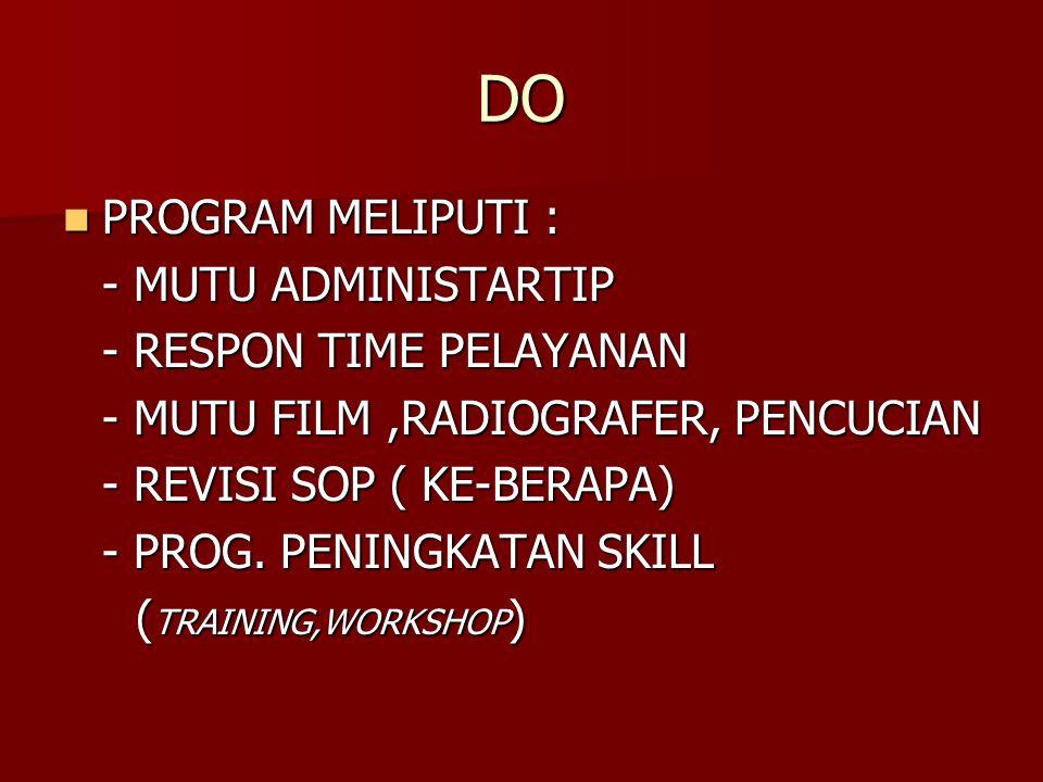 DO PROGRAM MELIPUTI : PROGRAM MELIPUTI : - MUTU ADMINISTARTIP - RESPON TIME PELAYANAN - MUTU FILM,RADIOGRAFER, PENCUCIAN - REVISI SOP ( KE-BERAPA) - P