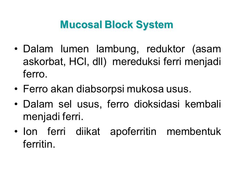 Mucosal Block System Dalam lumen lambung, reduktor (asam askorbat, HCl, dll) mereduksi ferri menjadi ferro.