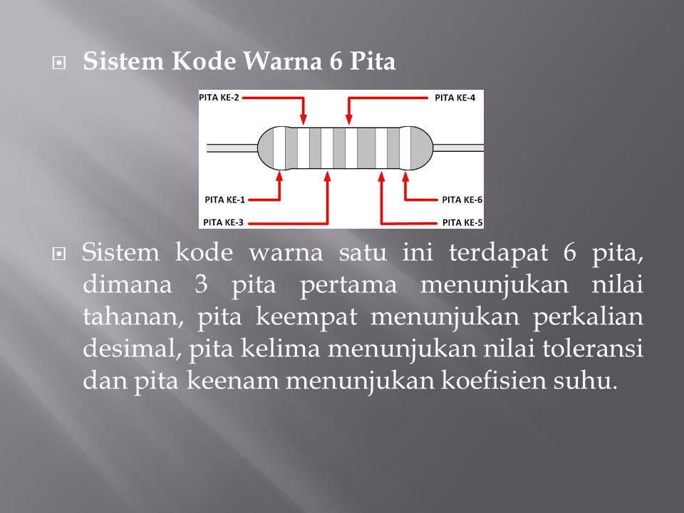  Sistem Kode Warna 6 Pita  Sistem kode warna satu ini terdapat 6 pita, dimana 3 pita pertama menunjukan nilai tahanan, pita keempat menunjukan perka
