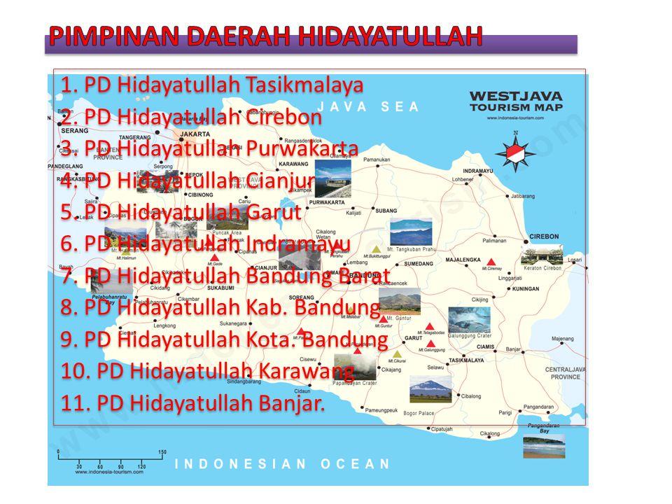 1. PD Hidayatullah Tasikmalaya 2. PD Hidayatullah Cirebon 3. PD Hidayatullah Purwakarta 4. PD Hidayatullah Cianjur 5. PD Hidayatullah Garut 6. PD Hida