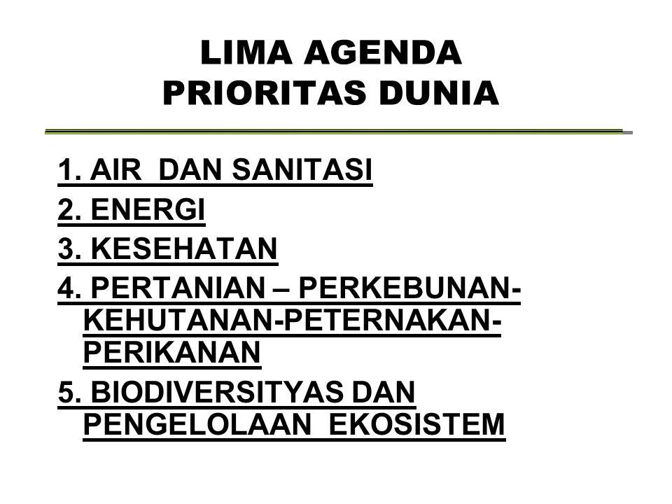 LIMA AGENDA PRIORITAS DUNIA 1. AIR DAN SANITASI 2. ENERGI 3. KESEHATAN 4. PERTANIAN – PERKEBUNAN- KEHUTANAN-PETERNAKAN- PERIKANAN 5. BIODIVERSITYAS DA