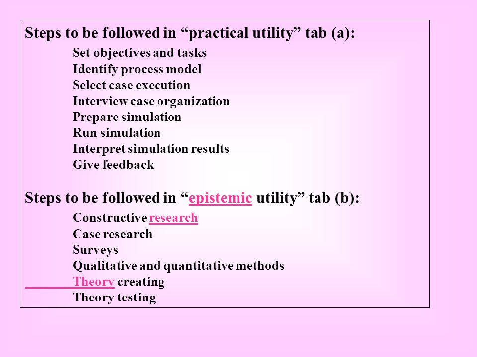 Steps to be followed in practical utility tab (a): Set objectives and tasks Identify process model Select case execution Interview case organization Prepare simulation Run simulation Interpret simulation results Give feedback Steps to be followed in epistemic utility tab (b):epistemic Constructive researchresearch Case research Surveys Qualitative and quantitative methods TheoryTheory creating Theory testing