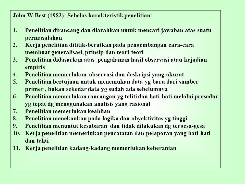 Arikunto (1998): 12 langkah dalam penelitian: 1.Memilih masalah 2.Studi pendahuluan 3.Merumuskan masalah 4.Merumuskan anggapan dasar 5.Merumuskan hipotesis 6.Memilih pendekatan 7.Menentukan variabel dan sumber data 8.Menentukan dan menyusun instrumen 9.Mengumpulkan data 10.Analisis data 11.Menarik kesimpulan 12.Menulis laporan