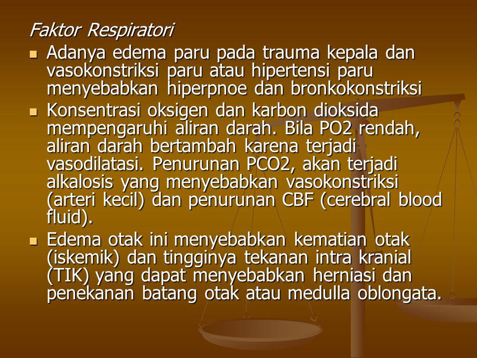 Faktor Respiratori Adanya edema paru pada trauma kepala dan vasokonstriksi paru atau hipertensi paru menyebabkan hiperpnoe dan bronkokonstriksi Adanya