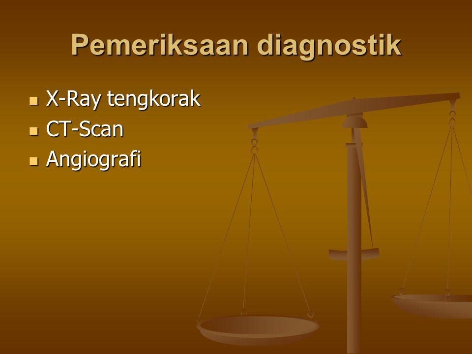 Pemeriksaan diagnostik X-Ray tengkorak X-Ray tengkorak CT-Scan CT-Scan Angiografi Angiografi
