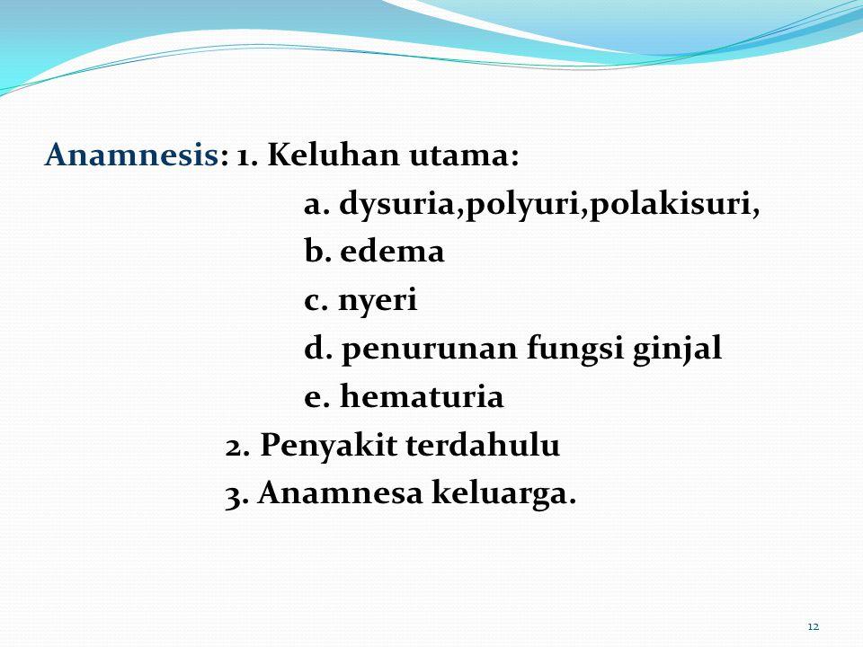12 Anamnesis: 1. Keluhan utama: a. dysuria,polyuri,polakisuri, b. edema c. nyeri d. penurunan fungsi ginjal e. hematuria 2. Penyakit terdahulu 3. Anam