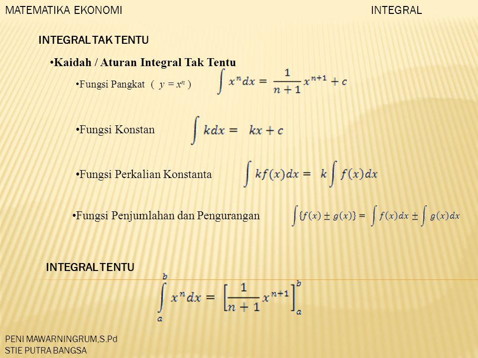 Kaidah / Aturan Integral Tak Tentu Fungsi Pangkat ( y = x n ) Fungsi Konstan Fungsi Perkalian Konstanta Fungsi Penjumlahan dan Pengurangan INTEGRAL TE