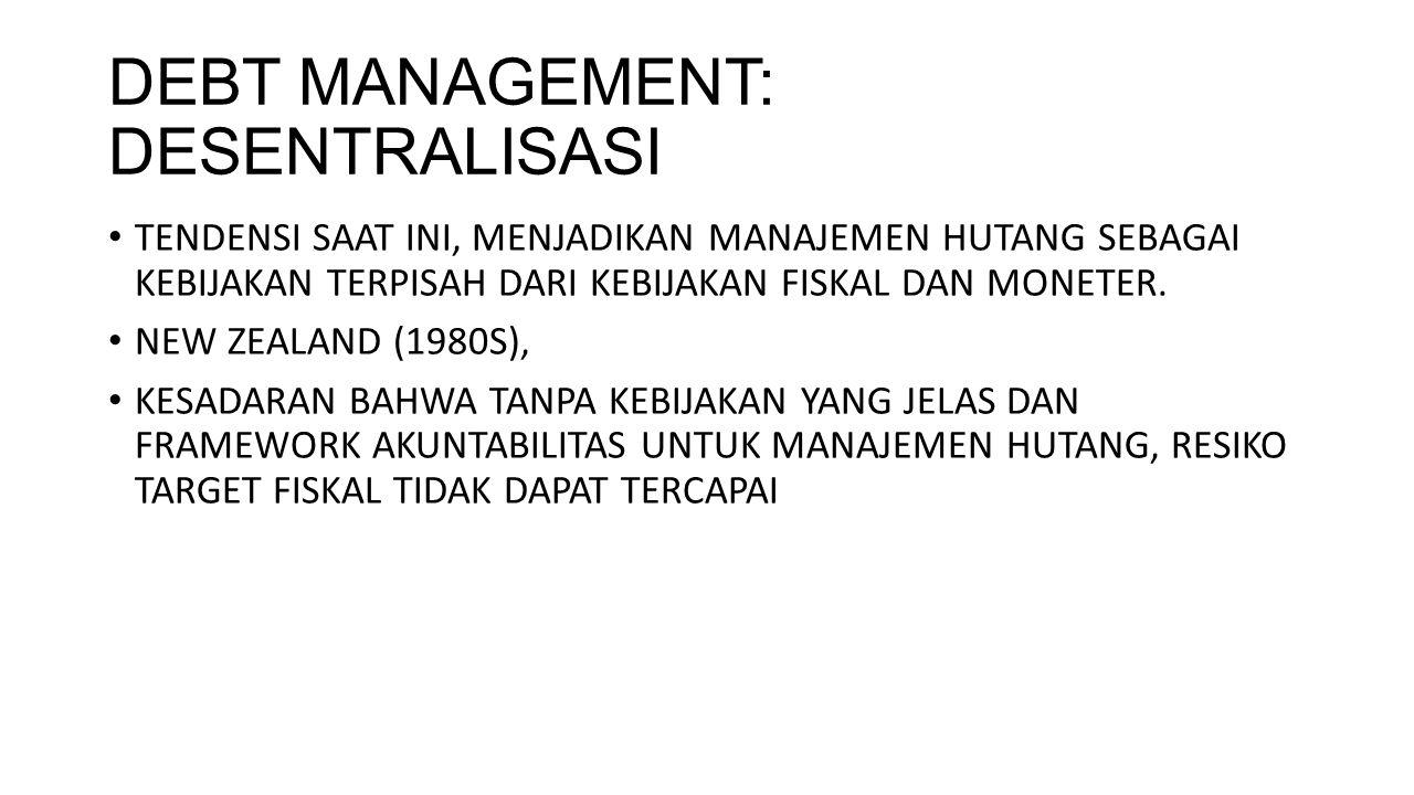 DEBT MANAGEMENT: DESENTRALISASI TENDENSI SAAT INI, MENJADIKAN MANAJEMEN HUTANG SEBAGAI KEBIJAKAN TERPISAH DARI KEBIJAKAN FISKAL DAN MONETER. NEW ZEALA