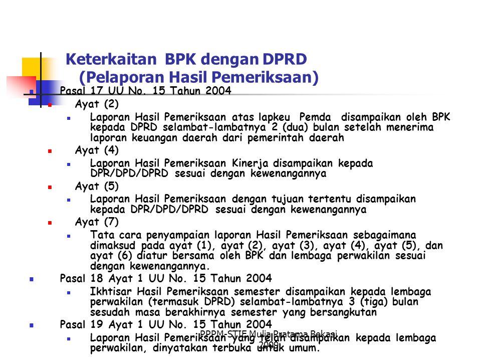 Keterkaitan BPK dengan DPRD (Pelaporan Hasil Pemeriksaan) Pasal 17 UU No.