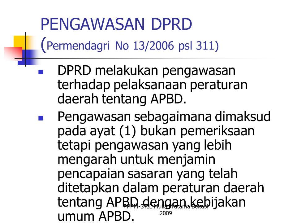 PENGAWASAN DPRD ( Permendagri No 13/2006 psl 311) DPRD melakukan pengawasan terhadap pelaksanaan peraturan daerah tentang APBD.