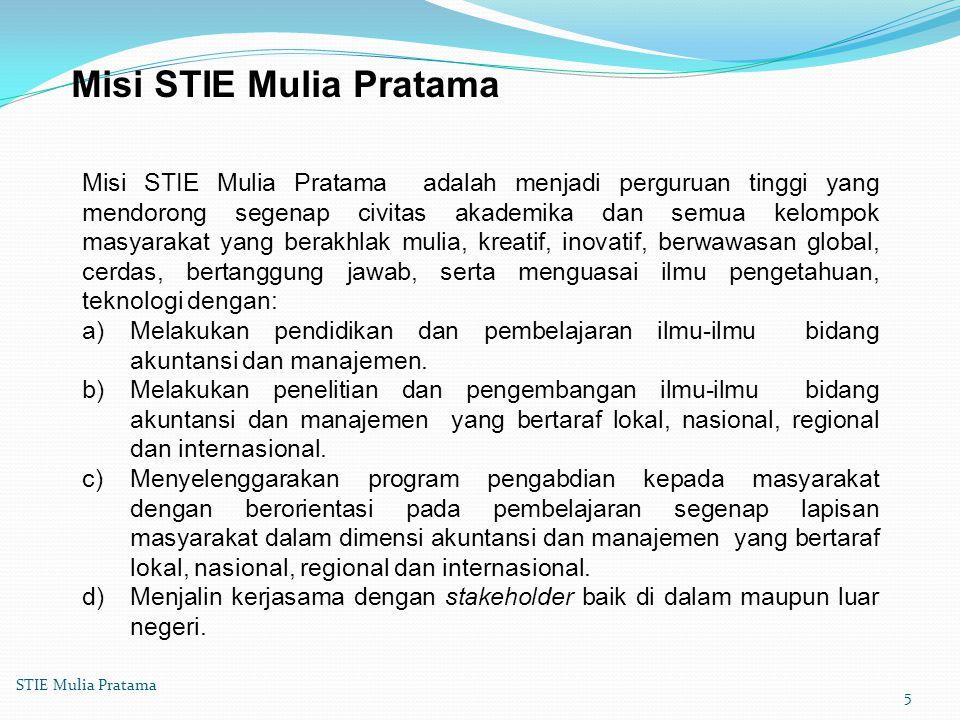Tujuan Tujuan STIE Mulia Pratama : a)Menyelenggarakan pendidikan dalam berbagai bidang keahlian untuk menghasilkan lulusan berupa tenaga profesional yang cakap, mandiri di bidang akuntansi dan manajemen serta berdaya saing global.