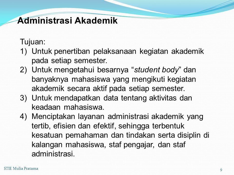 Administrasi Akademik Tujuan: 1)Untuk penertiban pelaksanaan kegiatan akademik pada setiap semester.