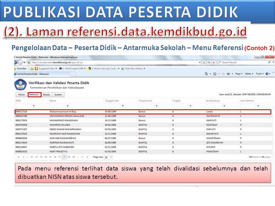 Pengelolaan Data – Peserta Didik – Antarmuka Sekolah – Menu Referensi (Contoh 2) Pada menu referensi terlihat data siswa yang telah divalidasi sebelum