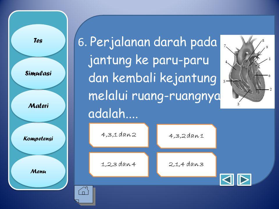 5. Katup trikuspidalis & katub bikuspidalis ditinjukkan pada no. berapa? Kompetensi Materi Simulasi Tes Menu 1 dan 4 4 dan 75 dan 6 8 dan 9