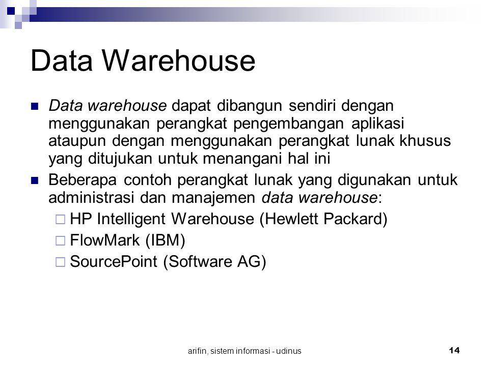 arifin, sistem informasi - udinus 14 Data Warehouse Data warehouse dapat dibangun sendiri dengan menggunakan perangkat pengembangan aplikasi ataupun d