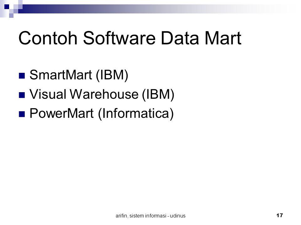 arifin, sistem informasi - udinus 17 Contoh Software Data Mart SmartMart (IBM) Visual Warehouse (IBM) PowerMart (Informatica)